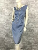 Escada New Runway Auth Blue Sheath Cocktail Dress Zipper Lined 10 US 46 IT M