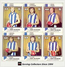 RARE-1974 Scanlens VFL Trading Card Full Team Set North Melbourne(11)--EXCELLENT
