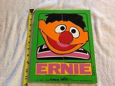 vintage Sesame Street ERNIE Wood PUZZLE 8 pieces Muppets Playskool 1973