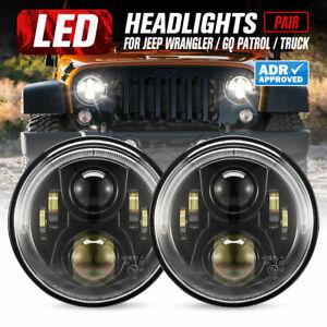 2x 7inch LED Headlight Insert Hi/Lo Sealed Beam ADR Approved Jeep Patrol GQ