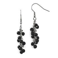 Ladies Chisel Stainless Steel Black Agate Polished Shepherd Hook Dangle Earrings