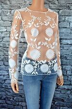 New Women's Elegant Long Sleeved Round Neck Floral Lace Top Blouse Uk Size 12