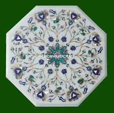 Octagon White Marble Coffee Table Top Inlaid Malachite Lapis Floral Design H4554