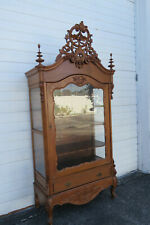 Early Victorian Heavy Carved Tall China Display Cabinet Cupboard 1380