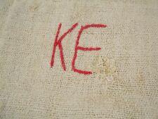 Vtg Antique MONOGRAM European HEMP LINEN Fabric FEED SACK GRAIN BAG 19X45