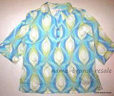JM COLLECTION Womens 16 Blue Print 100% LINEN Button Down Shirt Top Blouse Tunic