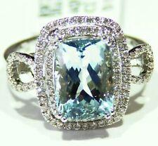 4.63CT 14K Gold Natural Aquamarine Cut White Diamond Vintage Engagement Ring