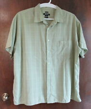 """Bruno 3X Big Shirt Mens Green Plaid Sueded Polyester Chest 60"""" button down"""