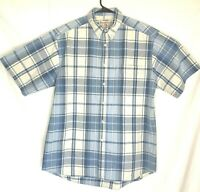 Wrangler Rugged Wear Blue Plaid Western Shirt Large Cowboy Rodeo