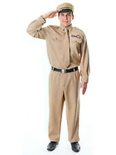 Mens Armed Forces Army WW2 American General Wartime Soldier Fancy Dress Costume