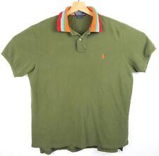 VTG Polo Ralph Lauren Mens Solid Olive Green Wt Multi Collar S/S Polo XL E10-3