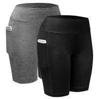 USA Women High Waist Yoga Shorts Pocket Gym Cycling Biker Hot Pants Leggings NEW