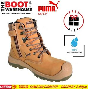 Puma Conquest WHEAT 630727. Safety Work Boot. Zip Side, 100% WATERPROOF BOOT