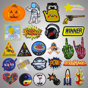 Middle Finger Fire Embroidery Sew On Iron On Patch Badge Fabric Applique Craft