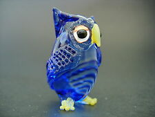 Glass OWL BIRD Hand Painted Blue Glass Ornament Glass Animal Glass Figure Gift