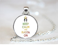 Keep Calm And Rasta On PENDANT NECKLACE Chain Glass Tibet Silver Jewellery