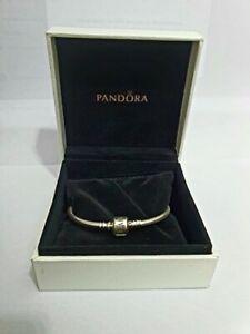 Genuine PANDORA Moments Barrel Clasp Snake Chain Charm Bracelet Silver Valentine