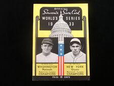1933 Nationals vs. Giants World Series Program - 6 Autographs! - Scored