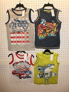 TOUGHSKINS Boy's Sleeveless Tank / T-Shirt / Muscle Graphic Shirt FREE Shpg NWTA