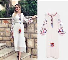 free people boho midi maxi embroidered dress festival bloggers fave Size M 10/14