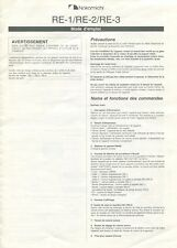 """Nakamichi RE-1, RE-2, RE-3 Original """"French Only"""" Stereo Receivers Owners Manual"""