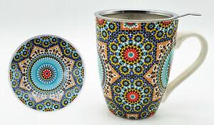 Teetasse Tasse Becher Keramik mit Teesieb und Keramikdeckel Mug Tee