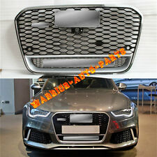 For Audi RS6 Front Euro Chrome/Black Grille W/ Quattro Logo 2013-14 A6 S6 C7 SFG