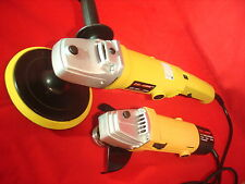 "7"" Electric Car Polisher Buffer Sander 6-Speed & 4-1/2"" x 7/8"" Angle Grinder Kit"