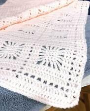"Handmade Crocheted  Baby Blanket Afghan Pale Pink 30"" x 36.5"" Soft Intricate"