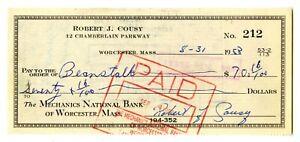 Bob Cousy Signed Check 1958 Celtics Auto HOF Signature Personal NBA Top 50 Mint