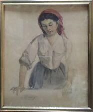 Louis-Claude MOUCHOT Paris 1830-1891.Lucia.Aquarelle.SBG.Titrée.18x22.Cadre.