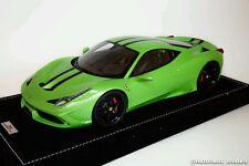 1/18 MR FERRARI 458 SPECIALE ITHACA GREEN WITH STRIPE ALCANTARA BASE LE 25