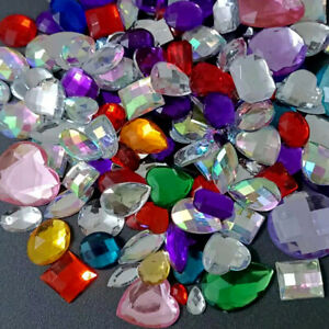 50pc Assorted Shape Acrylic Rhinestones Flatback Buttons for Crafts Decorations