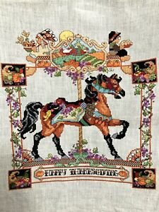 Finished Happy Thanksgiving Carousel Horse Cross Stitch 24 Ct. Linen