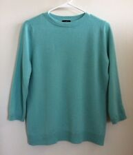 TALBOTS Mint Green 100% Cashmere 3/4 Sleeve Crewneck Sweater Sz L
