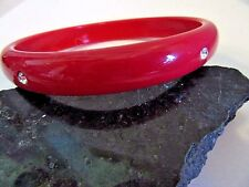 """BRIGHT RED BANGLE BRACELET LUCITE PLASTIC RHINESTONE SPARKLY ACCENTS MODERN 3"""""""
