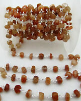 3 Feet Faceted Sunstone Chain, Wire Wrapped Rosary Chain Silver Plated 3mm Beads