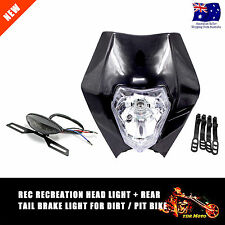 REC REG Black Headlight Tail Brake Light KTM 125 200 250 300 EXC DIRT Pit Bikes