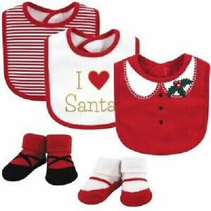5 Piece Christmas Holiday Baby Girls Gift Set, 0-9 Months, Bibs, Booties, Red MP