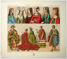 VINTAGE 1800's Color Costume Plate, Fashions of Europe, 15-16th Century, 029