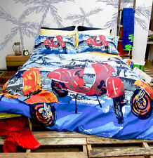 "Retro Home ""Scooter"" Vespa Motorbikes Single Bed Quilt Doona Duvet Cover Set"