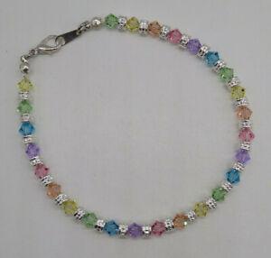 Handmade Swarovski Crystal Pastel Rainbow Bicone & Silver Bead Anklet Bracelet
