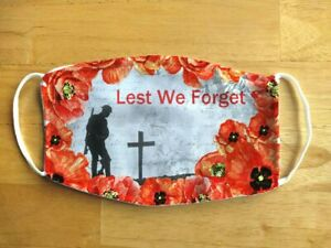 Face Mask Poppy Soldier Remembrance Patriotic VE Day Reusable Face Cover UK