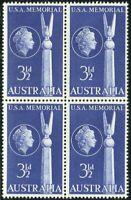 Australia 1955 SG283 3½d Australian-American Friendship block MNH