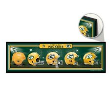 "GREEN BAY PACKERS HELMET DESIGN THROUGHOUT THE YEARS WOOD SIGN 9""x30"" WINCRAFT"
