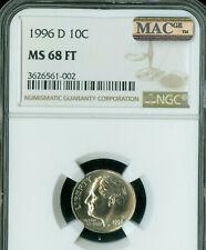 1996-D ROOSEVELT DIME NGC MS68 FT PQ FINEST GRADE MAC SPOTLESS .