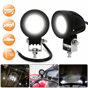 🔥2X 10W Motorcycle Motorbike LED Headlight Driving Fog Spot Lights Lamp Round