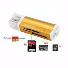 Card Reader GOLD Kartenleser Micro SD MMC SDHC M2 USB 2.0 Stick f. Speicherkarte