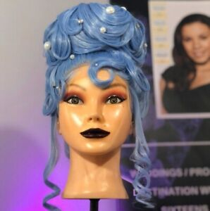 Big Voluminous Tropical blue mermaid Updo  Waves Lacefront synthetic Wig