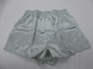 Silver Grey  Crepe  Poly Satin Boxer Shorts  Large With  Free Postage